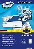 europe 100 ELA036 - Etichette universali, 105 x 70 mm, 100 fogli per un totale di 800 etichette, colore bianco