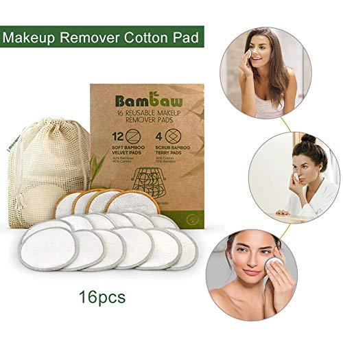 ke-up-Entferner-Pads 16 Packungen - Waschbare Bio-Bambus-Watte rundet die Toner-Pads - Weiche Reinigungstücher für das Gesicht mit Wäschebeutel ()