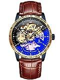 Alienwork IK mechanische Automatik Armbanduhr Herren Damen Uhr Leder Armband Lederband braun Analog Automatikuhr Herrenuhr Damenuhr Unisex blau schwarz Wasserdicht Skelett Sportlich
