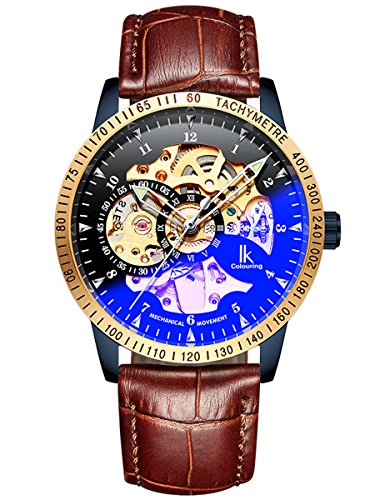 Alienwork IK Herren Damen mechanische Automatik-Uhr blau mit Lederarmband braun schwarz Skelett