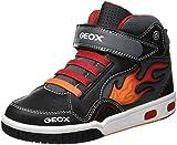 Geox Jungen JR Gregg C Hohe Sneaker, Schwarz (Black/Red C0048), 33 EU
