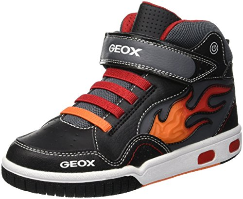Geox Jungen JR Gregg C Hohe Sneaker, Schwarz (Black/Red C0048), 32 EU