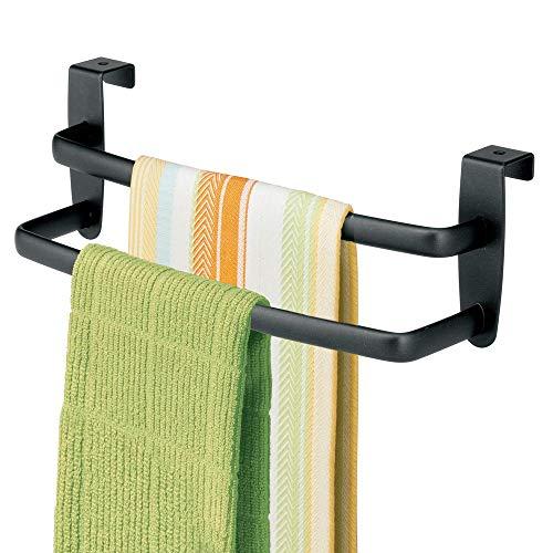 mDesign Soporte para toallas y repasadores -Toallero para cocina colgante - Accesorio para armario, se coloca sobre la puerta sin herramientas - Largo: 25 cm - negro mate