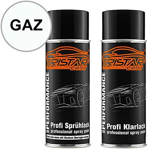 TRISTARcolor Autolack Spraydosen Set für Chevrolet/Daewoo GAZ Olympic White/Summit White Basislack Klarlack Sprühdose 400ml -