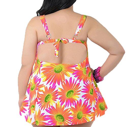 Spring Fever Damen Floral Tankini Bademode Vintage Cover Up Swim Kleid Rose