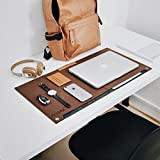 #10: NIVERA Washable Large PU Felt Leather Washable Laptop Desk mat, Extended Gaming Mouse Pad, Keyboard Pad, Desk Mat for Office, with Pen & Paper Pocket (Brown)