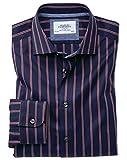Extra Slim Fit Business-Casual Hemd in MarineBlau und Rot mit Segelstreifen Knopfmanschette