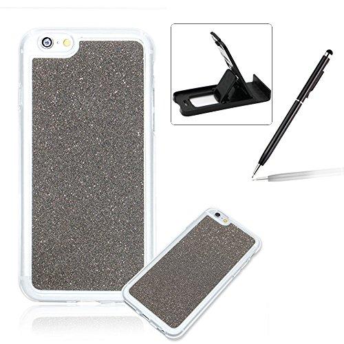 per iPhone 7 4.7 Custodia case,Herzzer Mode Crystal per iPhone 7 4.7 Creativo Elegante Transition Color cover,Protettivo Skin lusso di Glitter Bling Gradiente Colore fuxia,Unico Molto sottile Modeli grigio Nero