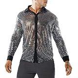 WanYangg Chemises Homme Brillant Point Paillettes Slim Fit Perspective Décoration en Métal Shirt De Night-Club Disco Danse Chemise De Revers Automne Et Hiver Argenté XL