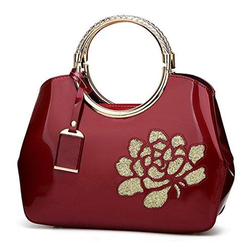 SANSJI Damen Patent Satchel mit Metallrahmen Taschen Frauen heißer Verkauf Fashion Designer Tote Handtaschen Umhängetasche (Patent Satchel Handtasche)