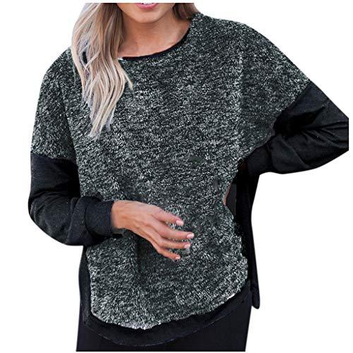 LILIHOT Langärmliges Hemd mit Rundhalsausschnitt für Frauen Lässige Farbblock-Bluse mit Geschlitzten Tops Damen Hoodie Sweatshirt Pullover Oberteile -
