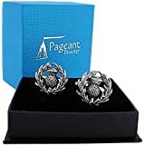 SCOTTISH THISTLE Polished Pewter Cufflinks Boxed Gift - Made in England