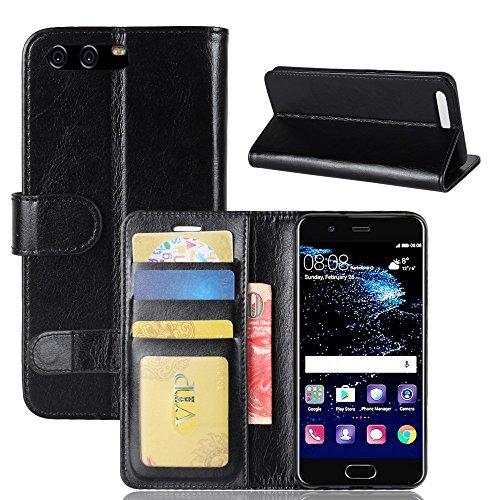 pinlu® Premium Geschäfts Art Luxus PU Leder Etui Schutzhülle Für Huawei P10 Lederhülle Flip Case Brieftasche Mit Stand Function Innenschlitzen Design Schwarz - Luxus-leder-stand