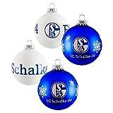 FC Schalke Weihnachtskugeln 4er Pack Blau und Weiß