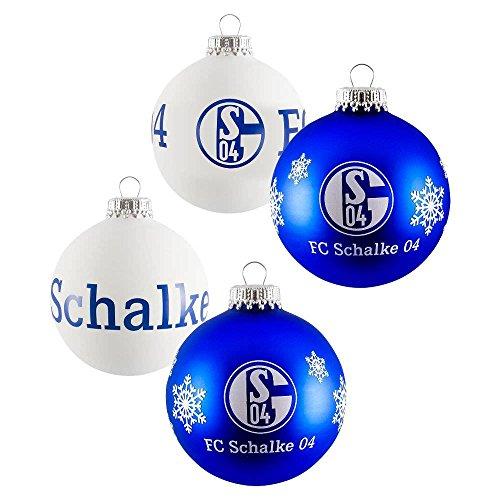 FC Schalke Weihnachtskugeln 4er Pack Blau und Weiß 7