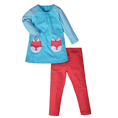 (Mooler Kleine Mädchen Cartoon Fox Set Baumwolle Langärmelige T-Shirt Anzüge, Grün , 6 Jahre)