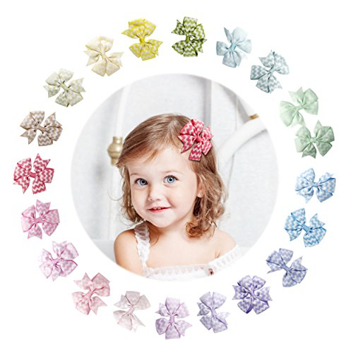 f47db5c4a87c8 Yinson 20 Packs 3 Inch Baby Girls Ribbon Grosgrain Mini Graphic Printed  Boutique Hair Bows Clips
