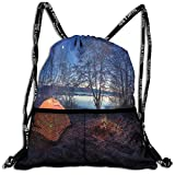 RAINNY Drawstring Backpacks Bags,Dark Night Camping Tent Photo in Winter on Snow Covered Lands by The Lake,5 Liter Capacity,Adjustable