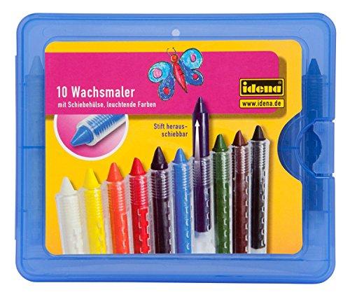 Idena 621677 - Wachsmalstifte mit Schiebehülse, wasserfest, 10er Kunststoffbox, Sortiert