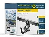 Weltmann 7D020029 BMW X3 (F25) - Abnehmbare Anhängerkupplung inkl. fahrzeugspezifischem 13-poligen Elektrosatz