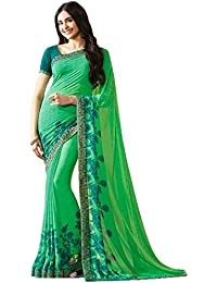 KAMELA SAREE women's silk material Green colour Printed Party wear saree With designer Blouse