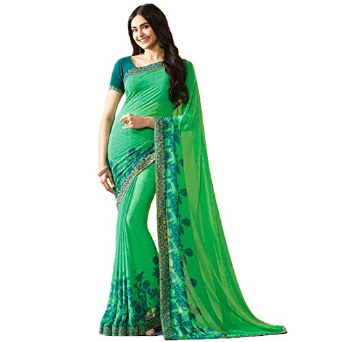 Visat Designer Women's Georgette Saree With Blouse Piece(A20Green-VISAT DESIGNER15_Green_Free Size)