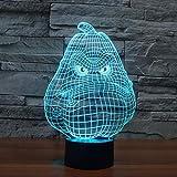 Cire Gourd 3D Night Light Interrupteur Tactile Lampe Petite Veilleuse 7 Couleurs Changeantes 3D Déco Vision Desk Lampara Décoratif