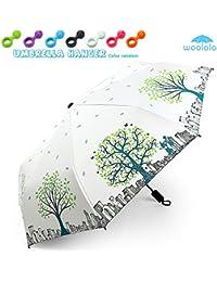 Parasol de lluvia de Woolala paraguas plegable protección UV para las mujeres, resistente al viento fuerte, Anti-deslizamiento de la manija para llevar fácil