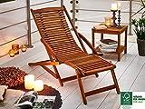SAM Akazie Holz Deckchair Fuki, Sonnen- Liege-Stuhl, FSC 100%, Geschliffen, klappbar, für Balkon, Terasse und Garten