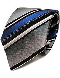 Schicke TigerTie Designer Krawatte - Tie Binder blau silber grau weiss schwarz gestreift