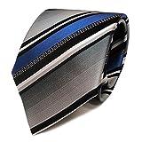TigerTie Designer Krawatte - Tie Binder blau silber grau weiss schwarz gestreift