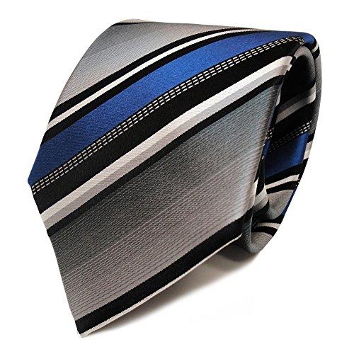 Preisvergleich Produktbild Schicke TigerTie Designer Krawatte - Tie Binder blau silber grau weiss schwarz gestreift