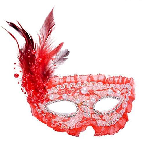 skerade Maske Halbmaske mit Künstliche Federn und Glamour Glitzer Halloween Party Maske rote (Rote Halbmaske Mit Federn)