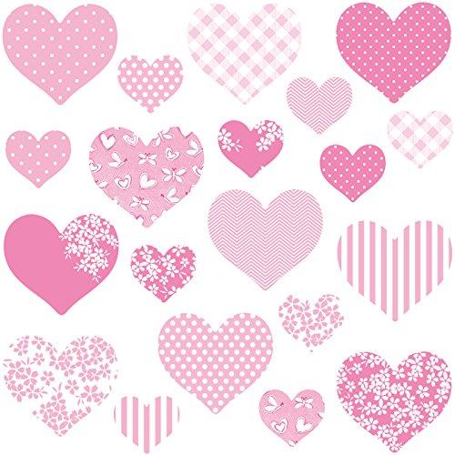 GET STICKING DÉCOR® süße Herz Wandtattoo, Wandsticker Kollektion, MultiPinkHearts Hart.4, Glänzend Removable Vinyl, Multi Farbe. (Medium) Harte Herzen