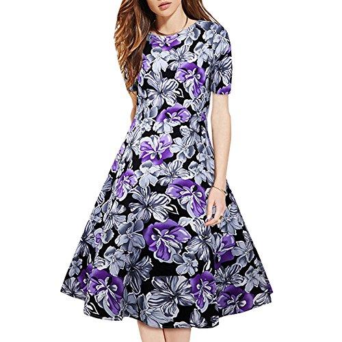 Pinkyee Damen A-Linie Kleid Violett