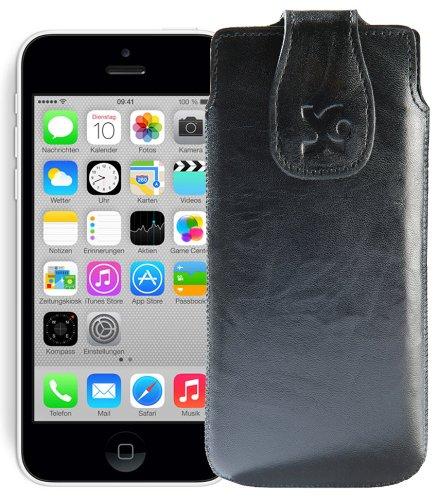 Original Suncase Tasche für / Apple iPhone 5C / Leder Etui Handytasche Ledertasche Schutzhülle Case Hülle / in wash-blau Wash-Schwarz