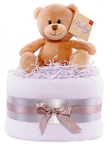 Tarta de pañales, diseño de oso, color plateado, gris y blanco cesta de regalo de unisex Baby