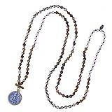 KELITCH Handmade Natürlich Achat Länge Perlen Halskette mit Patron Anhänger - B