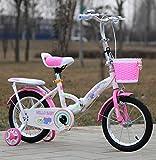 YEARLY Kinderfahrrad, Schüler klappräder Baby fahrrad Kinderwagen Super leichtes Portable Klappräder Für 4-7 jahre alt-Rosa 16inch