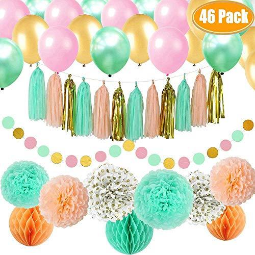 46 Stück Gold Mint Pink Partydekorationen Kit Party Supplies einschließlich Papier Pom Poms Blumen & Gewebe Quaste Garland & Bälle & Partyballons für Geburtstagsfeier, Verlobung, Hochzeit, Baby-Dusche (Gold Pink Und Baby Dusche)