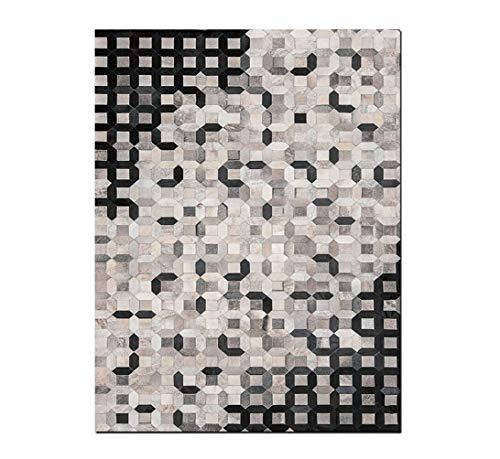 Fydnp Moderner Designer Square Cowhide Teppich, Geometrische Mosaik Quadrat Gitter Kollektion Lederteppich, Handgemachte Kuh Haut Patchwork Area Rug Zum Konferenzraum,Black,2×3m/6.5×9.8ft -