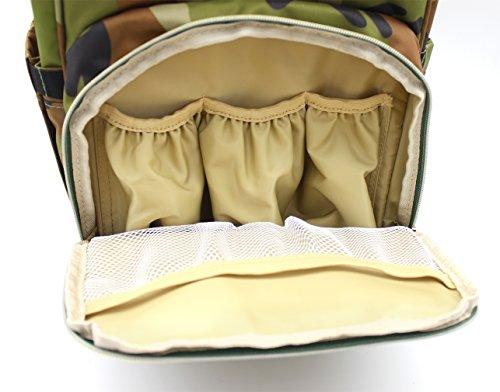 Scheppend Anti-Diebstahl Multi funktionelle Mumie Tasche Travel Rucksack Schulter Windel wechseln Tasche/Rucksack für Männer, Frauen Camouflage