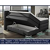XXL ROMA Boxspringbett mit Bettkasten Designer Boxspring Bett LED Nachtschwarz Rechteck Design (Nachtschwarz, 180x200cm)