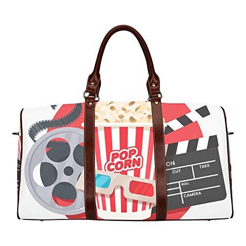 Reise-Seesack Movie Clapper und Film Reel Cinema wasserdichte Weekender Tasche über Nacht Carryon Handtasche Frauen Damen Einkaufstasche mit Mikrofaser Leder Gepäcktasche