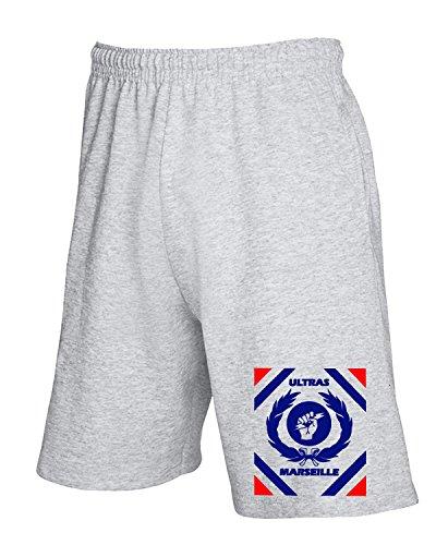 Cotton Island - Pantalone Tuta Corto TUM0083 ultras marsiglia Grigio