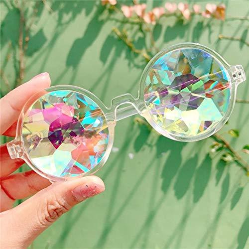 BUYAOAQ Runde Kaleidoskop Brille Frauen Karneval Sonnenbrille Herren Holographische Brille Bunte Celebrity Party Brille, B