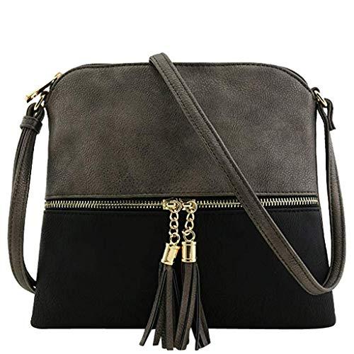 TianWlio Frauen Handtasche Leder Quaste Umhängetasche Hit Farbe Umhängetaschen Umhängetasche E