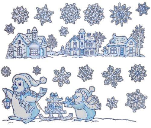 Unbekannt 1 Set: Fensterbild Weihnachten - Schneeflocken / Landschaft / Winter / Weihnachtsmann GLITZER - Sticker Fenstersticker Aufkleber selbstklebend wiederverwendbar