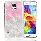 NALIA Handyhülle für Samsung Galaxy S5 S5 Neo, Glitzer Sterne Slim Silikon-Case Back-Cover Schutzhülle, Glitter Stars Sparkle Handy-Tasche, Dünnes Bling Strass Phone Etui, Farbe:Pink Silber