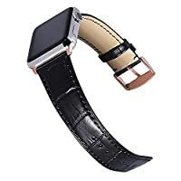 CHIMAERA Compatible for 38mm 40mm 42mm 44mm Apple Watch Strap Genuine Leather Band Replacement for iWatch & Sport & Edition Series 1/2/3/4/5 Men Bracelet Classic Pin Deployment Buckle